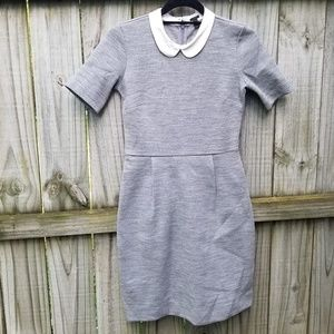 J. CREW gray peter pan collared dress, Size 0